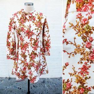 Vtg Japanese Wool Pink Floral Mini Dress - XS
